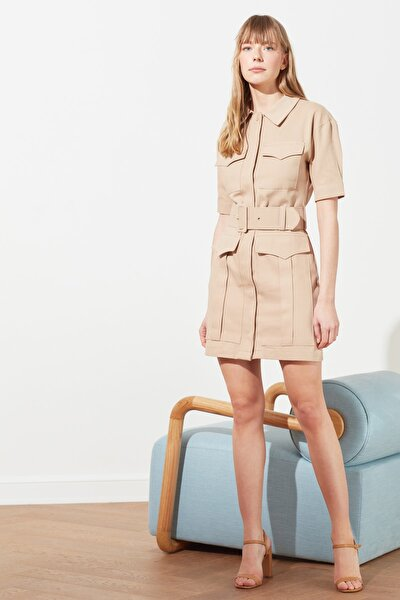 Taş Kemerli Cep Detaylı Elbise TWOSS21EL0487