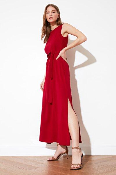Bordo Kuşaklı Elbise TWOSS20EL1921