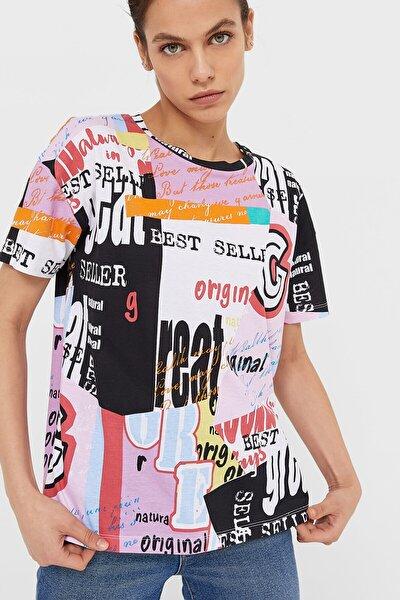 Kadın Beyaz Grafiti Baskılı T-Shirt 02667813