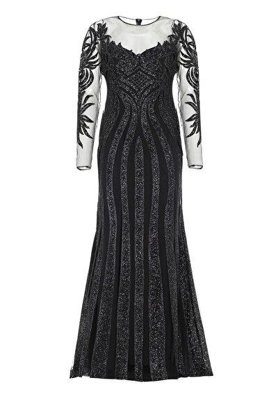 Siyah Transparan Simli Uzun Abiye Elbise