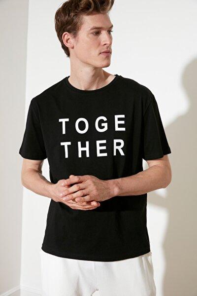 Siyah Baskılı Örme T-Shirt THMSS21TS1934