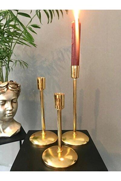 3 Boy Metal Gold Şamdan Seti