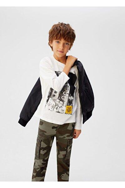Erkek Çocuk Haki Kamuflaj desenli Kargo pantolon