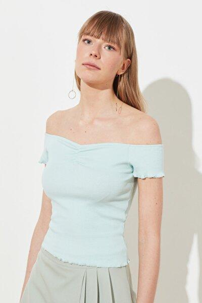 Mint Carmen Yaka Fitilli Örme Bluz TWOSS21BZ0761