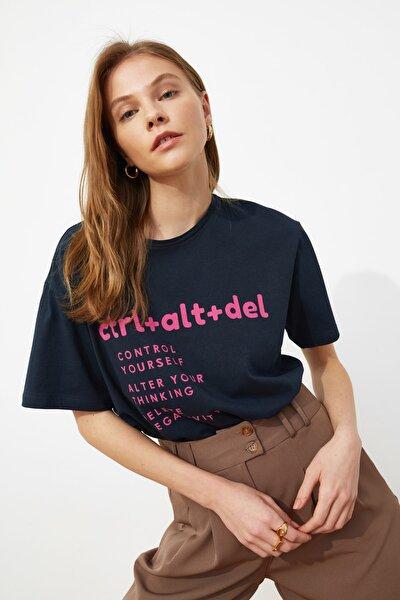 Lacivert Baskılı Boyfriend Örme T-Shirt TWOSS21TS0118