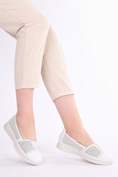 Kadın Beyaz Hakiki Deri Comfort Ayakkabı Vona