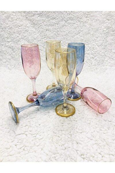 44419 Bistro Renkli Kahve Yanı Su Bardağı Kadeh 6 Kişilik