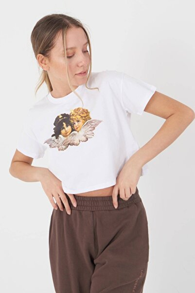 Kadın Beyaz Baskılı T-Shirt P0873 - I8 Adx-0000021843