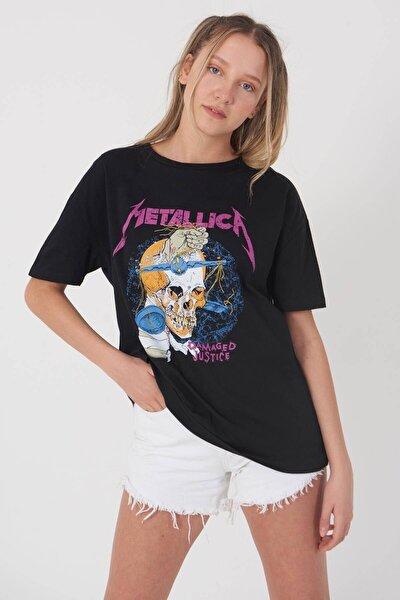 Kadın Siyah Önü Baskılı T-Shirt P0965 - L7 Adx-0000022563