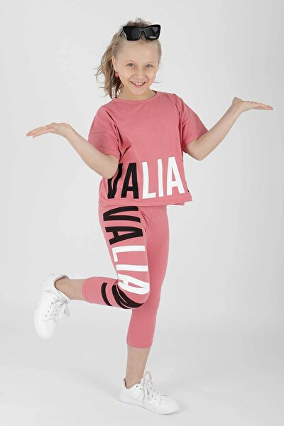 Kız Çocuk Pembe Vaillant Baskılı Taytlı Takım