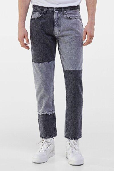 Erkek Gri Patchwork Slim Fit Jean