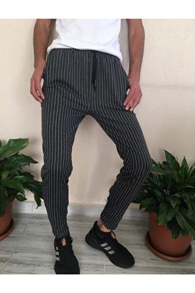 Erkek Lacivert Çizgili Jogger Tarzı Eşofman Pantolon