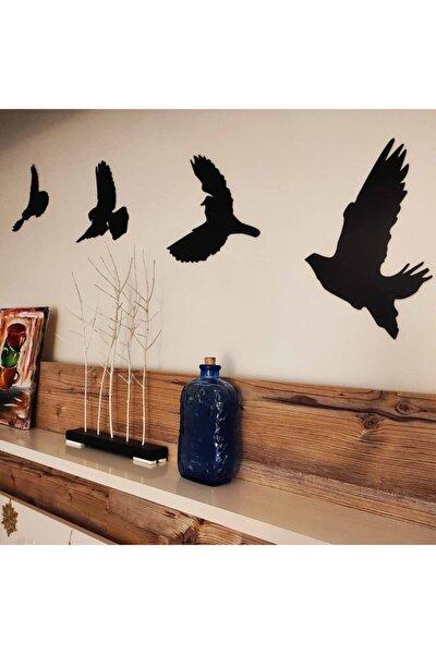 Siyah Dekoratif Kuş Duvar Dekoru 4 Lü