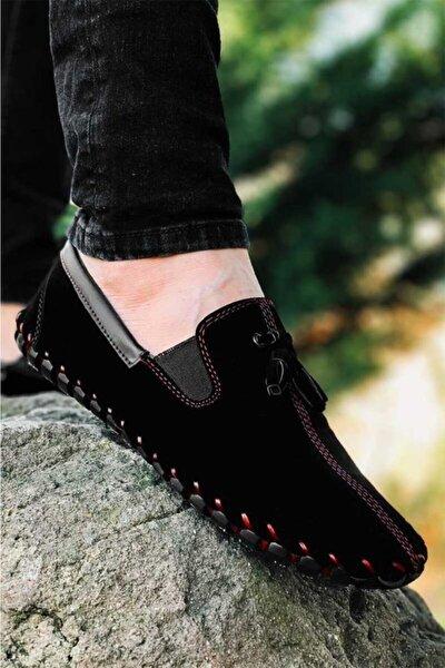 Erkek Siyah Tam Ortopedik Süet Çarık Model Ayakkabı