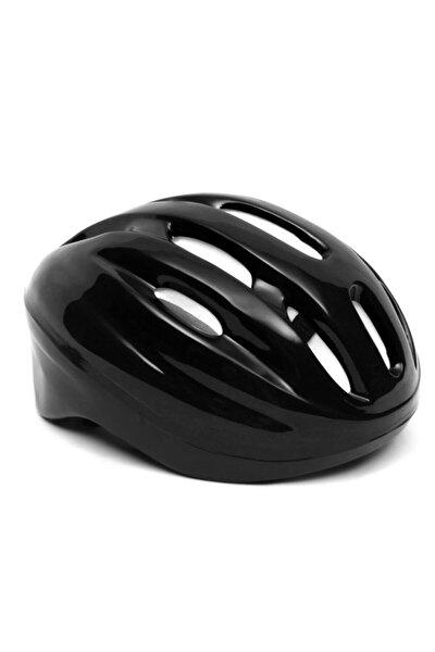 Unisex Çocuk Siyah Kaskı (Scooter Paten Bisiklet Kaykay Baş Koruyucu) Siyah