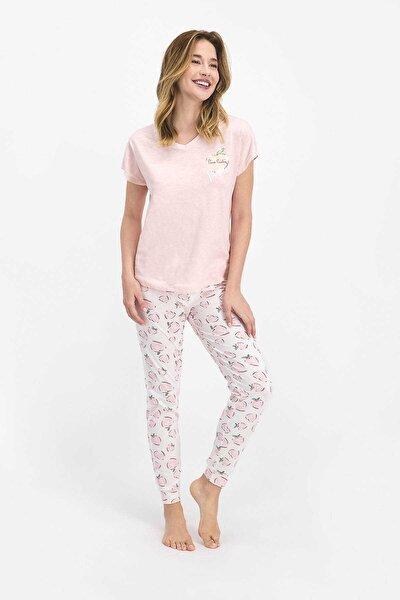 Positive Toz Somon Kadın Kısa Kol Pijama Takımı