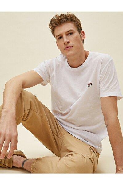 Erkek Beyaz Baskılı Kısa Kollu Pamuklu T-Shirt