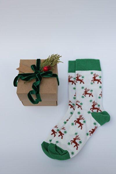 Unisex Geyik Desenli Çorap