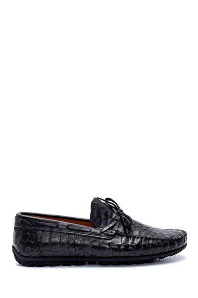 Erkek Siyah Deri Kroko Desenli Loafer