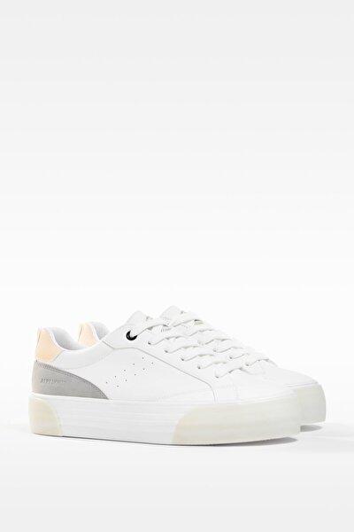 Kadın Beyaz Kontrast Platform Spor Ayakkabı