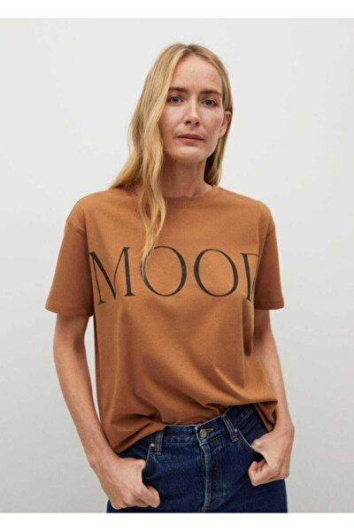 Kadın Kahverengi Yazılı Organik Pamuklu Tişört