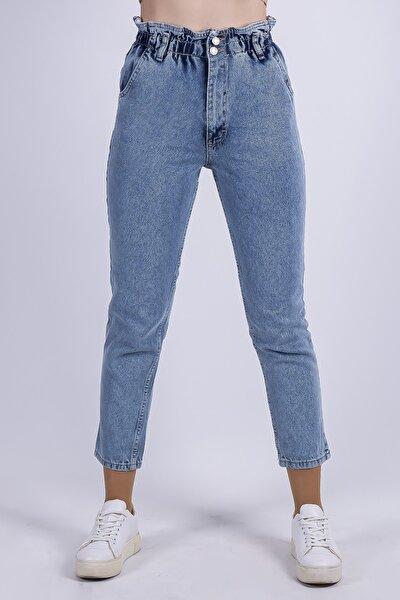 Kadın Mavi Beli Lastikli Büzgülü Yüksel Bel Boyfriend Denim Pantolon