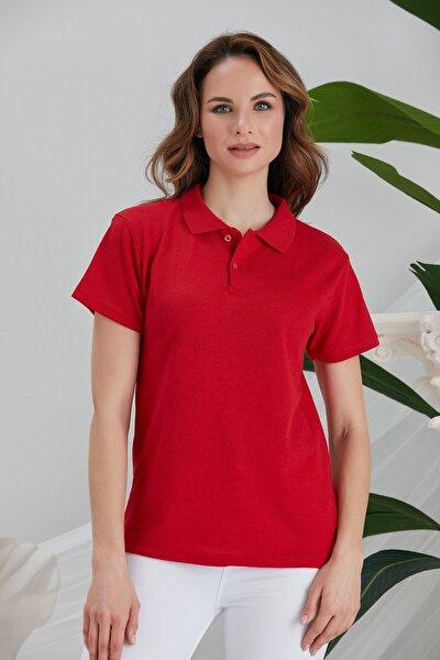 Kadın Kırmızı Polo Yaka Tshirt