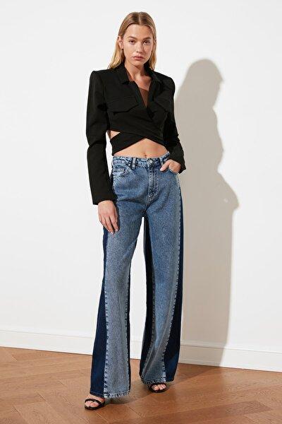 Mavi Renk Bloklu Yüksek Bel Wide Leg Jeans TWOSS21JE0253