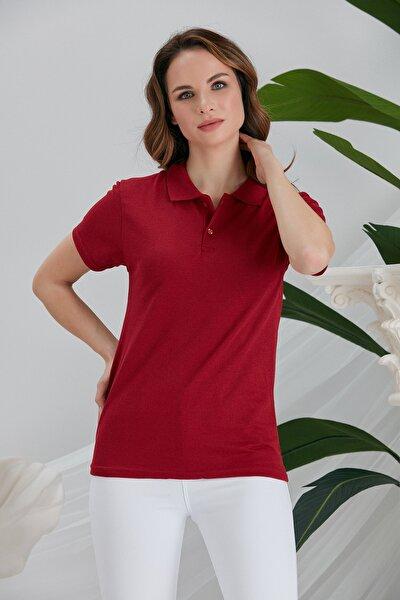Kadın Bordo Polo Yaka Kısa Kollu Tshirt