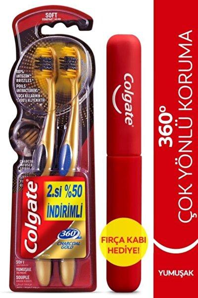 360 Charcoal Gold Çok Yönlü Koruma Yumuşak Diş Fırçası 1+1 Fırça Kabı Hediye