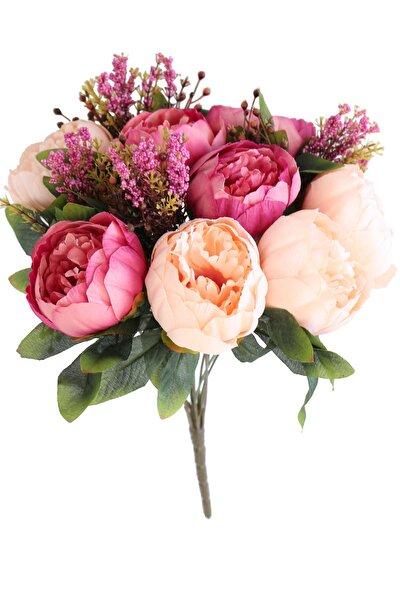 Pembe Somon Yapay Çiçek 12 Dallı Lüx Şakayık Gül Aranjmanı