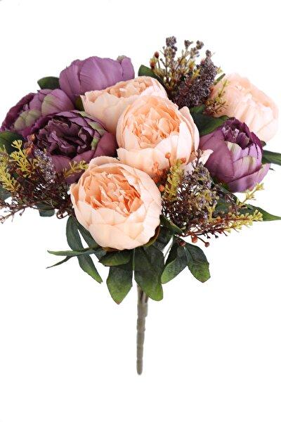Yapay Çiçek 12 Dallı Lüx Şakayık Gül Aranjmanı Somon Mor