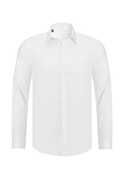 Erkek Beyaz Mat Saten Pamuklu Slim Fit Gömlek