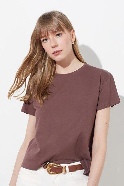 Kahverengi Yanları Çıtçıtlı Örme T-Shirt TWOSS20TS0745