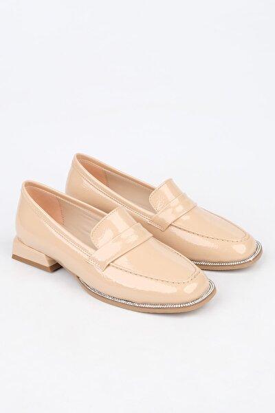 Kadın Bej Rugan Loafer Ayakkabı Bunlez