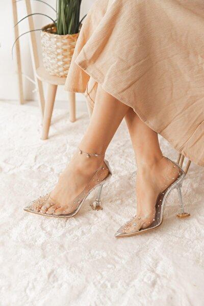 Kadın Gümüş Taşlı Topuklu Ayakkabı