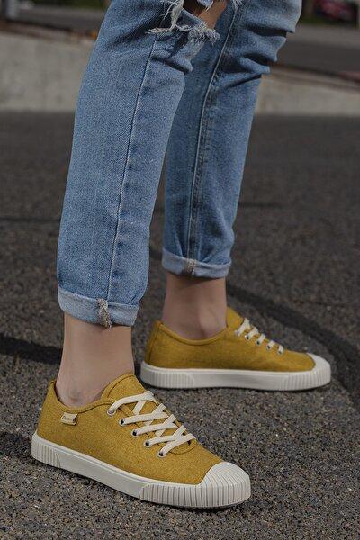 Kadın Sarı Ortopedik Günlük Sneaker D608