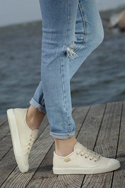 Kadın Bej Ortopedik Günlük Sneaker D608
