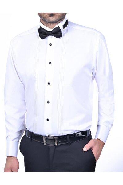 Slim Fit Ata Yaka Gömlek Beyaz