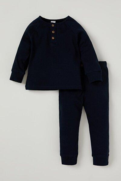 Erkek Bebek Düğme Detaylı Fitilli Pijama Takımı