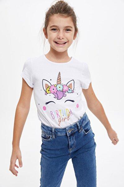 Kız Çocuk Unicorn Simli Baskılı Örme Tişört