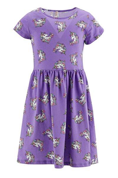 Kız Çocuk Unicorn Desenli Kolsuz Elbise