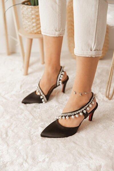 Kadın Siyah Pearl Topuklu Ayakkabı