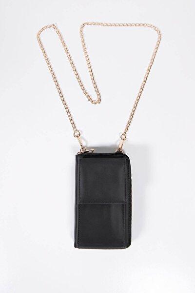 Kadın Siyah Telefon Bölmeli Cüzdan Çantası Czdn74 - F6 Adx-0000022976