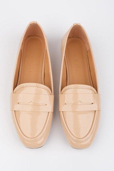 Kadın Bej Rugan Loafer Ayakkabı Munle