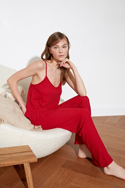 Kırmızı Kaşkorse Örme Askılı Pijama Takımı THMSS21PT0137
