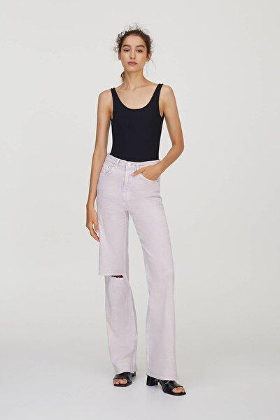 Kadın Lila Yüksek Bel Straight Fit Jean