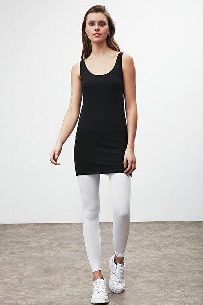 BELLA Kadın Siyah Dar Kesim Uzun Kolsuz  T-Shirt