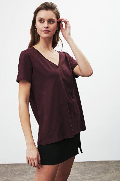 PAISLEY Kadın Bordo V Yakalı Kısa Kollu T-Shirt