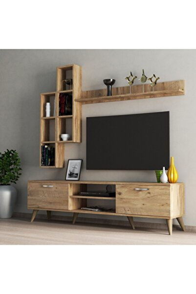 Mega 180 Lik Kitaplıklı Raflı Tv Ünitesi Çam - Tvu0302